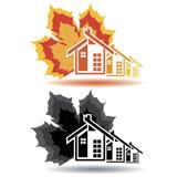 Bringen Sie Ikonen für Immobiliengeschäft auf weißem Hintergrund unter. Lizenzfreie Stockfotos