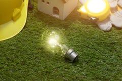 Bringen Sie Ingenieur- und Architektenideenkonzept mit Glühlampe unter yell Stockfotografie