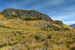 Bringen Sie Sonntag, Lord des Ringfilm-Schmierfilmbildungsstandorts für Edoras-Szene, in Neuseeland an Lizenzfreies Stockfoto