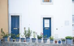 Bringen Sie Türen und Blumen in Lissabon, Portugal unter Lizenzfreie Stockfotos