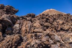 Bringen Sie Teide und vulkanische Felsen, Teneriffa, Kanarische Inseln, Spanien an stockbild