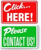 Bringen Sie uns bitte klicken hier Speicherzeichen in Kontakt Lizenzfreie Stockbilder