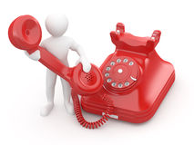 Bringen Sie uns in Kontakt. Männer mit Telefon. 3d Stockbilder