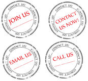 Bringen Sie uns in Kontakt, mailen Sie uns, verbinden Sie uns Meldung auf Stempel lizenzfreies stockbild