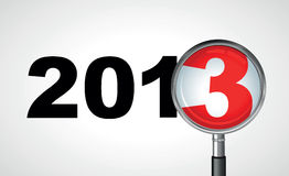 Bringing in 2013. 2013 with a magnifying glass vector illustration