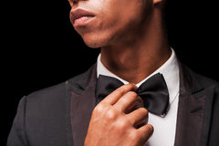 Bringing the bow tie back in style. Royalty Free Stock Photos