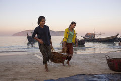 Bringing in the catch - Ngapali Beach - Myanmar Royalty Free Stock Photo
