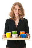 Bringing the colleagues coffee Stock Images