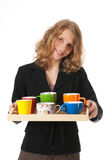 Bringing the colleagues coffee Stock Image