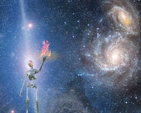 Bringing fire. Alien bringing fire in universe Royalty Free Stock Photo
