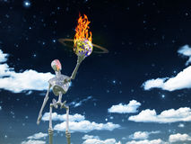 Bringing fire. Alien bringing fire in universe     Some elements provided courtesy of NASA Stock Photo
