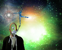 Bringing grace. Alien bringing grace in universe  Some elements provided courtesy of NASA Royalty Free Stock Photos