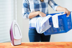 Bringing the laundry Stock Images