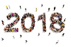 Bringing in the new year. Large group of people forming the shape of 2018 celebrating a new year concept on a white background. 3d rendering royalty free stock photos