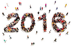 Bringing in the new year. Large group of people in the shape of 2016 celebrating a new year concept on a white background. Vertical version also available Stock Image