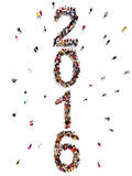 Bringing in the new year. Vertical large group of people in the shape of 2016 celebrating a new year concept on a white background Royalty Free Stock Photography