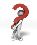 Bringing the Questions. CG rendered character carrying a big red question mark symbol on white background Stock Photography