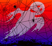 Bringing spiders and cobwebs for Halloween. Raster illustration Stock Photos