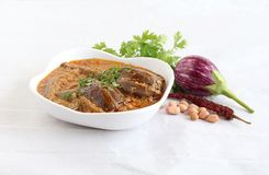 Brinjal or Eggplant Indian Vegetarian Curry in a Bowl. Brinjal or eggplant curry, which is an Indian vegetarian side dish for food like rice roti and chapati, in royalty free stock images