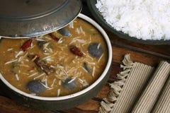 Brinjal sambar - A lentil soup from Tamilnadu Stock Photos