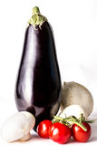 Brinjal, tomater och champinjoner Royaltyfria Foton