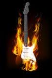 Brinnande bakgrund för gitarrbrand Royaltyfria Bilder