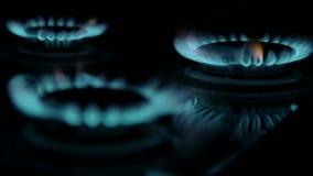 Brinnande blåttgas Fokus på den tillbaka kanten av gasgasbrännarna arkivfilmer