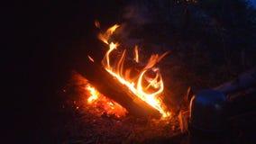 Brinnande brand i aftoncloseupen arkivfilmer