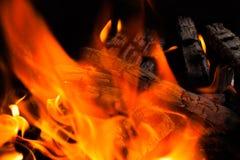 Brinnande brandträ Royaltyfri Fotografi