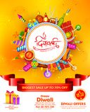 Brinnande diya på lycklig bakgrund för annonsering för Diwali ferieSale befordran för ljus festival av Indien vektor illustrationer