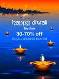 Brinnande diya på lycklig bakgrund för annonsering för Diwali ferieSale befordran för ljus festival av Indien royaltyfri illustrationer