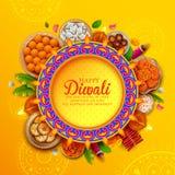 Brinnande diya på lycklig Diwali feriebakgrund för ljus festival av Indien stock illustrationer
