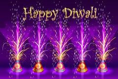 Brinnande Firecracker i lyckliga Diwali Royaltyfri Bild