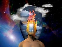 Brinnande huvud vektor illustrationer