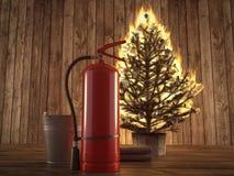Brinnande julträd med eldsläckaren och hinken beside framförande 3d Royaltyfri Foto