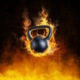Brinnande kettlebellbegrepp stock illustrationer