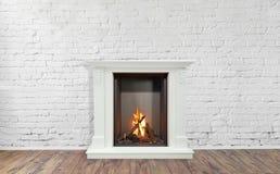Brinnande klassisk spis av vit marmor Tom vardagsrum på bakgrund royaltyfri bild