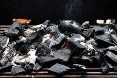 Brinnande kol i gallret Royaltyfri Bild