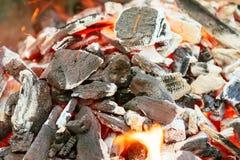 Brinnande kol med den orangefärgade flamman och den selektiva fokusen för glöd, på delar av styckena runt om Royaltyfri Bild