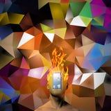 Brinnande mänskligt huvud vektor illustrationer