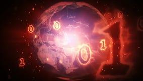 Brinnande nummer för binär kod som flyger över jordplaneten lager videofilmer