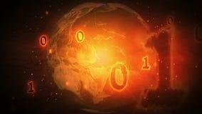 Brinnande nummer för binär kod som flyger över jordplaneten stock video
