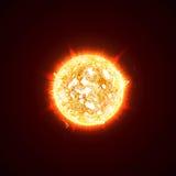 Brinnande realistisk sol 3D, exponeringar, ilsken blick, signalljus, gnistor, flammor, värme och brandstrålar Apelsin varm kosmis vektor illustrationer