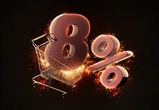 Brinnande shoppingvagn och rött åtta procent rabatttecken 3d il Fotografering för Bildbyråer
