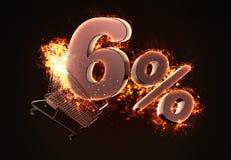 Brinnande shoppingvagn och rött sex procent rabatttecken illu 3d Arkivfoto