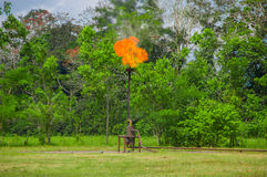 Brinnande signalljus för olje- gas nära den Limoncocha nationalparken i amasonrainforesten i Ecuador Royaltyfri Fotografi
