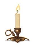 Brinnande stearinljus i bronsljusstake stock illustrationer