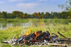 Brinnande trä med rök Royaltyfria Foton