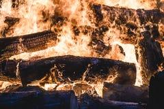Brinnande träd för brasa på natten Stor orange flamma på en svart bakgrund svart brand Ljust värme, ljus som campar, royaltyfri foto