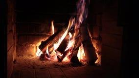 Brinnande vedträ i spisen lager videofilmer